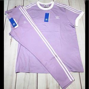 New adidas originals purple outfit leggings tshirt